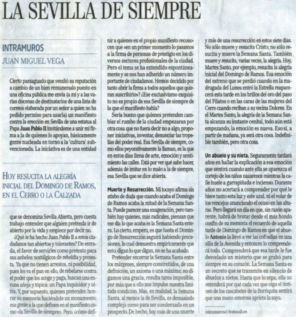 Artículo publicado en El Mundo por Juan Miguel Vega
