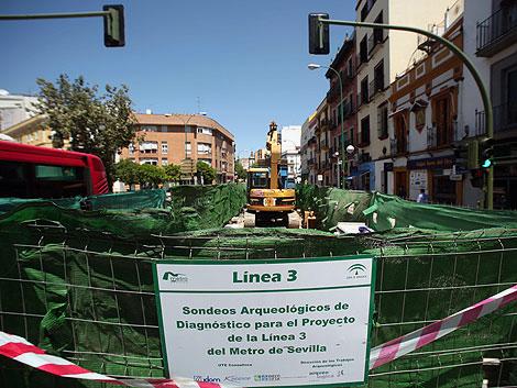 Sevilla.Sondeos arqueologicos de diagnostico para el proyecto de la linea 3 del metro de Sevilla, en la puerta Carmona.5 mayo 2010.Jesus Moron.